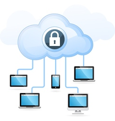 Cloud computing - gadget connected to cloud vector image