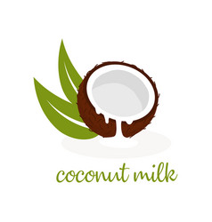 Coconut milk on white vector