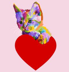 Colorful cat hug heart love vector