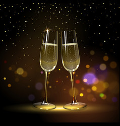 congratulatory background with champagne glasses vector image