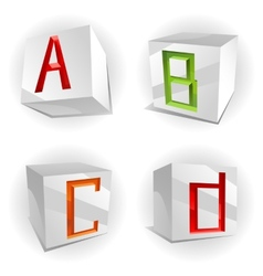 cube alphabet letters ABCD vector image