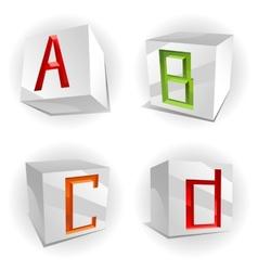 Cube alphabet letters ABCD vector