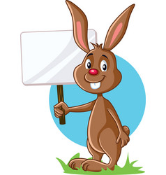 cute bunny holding advertising sign vector image