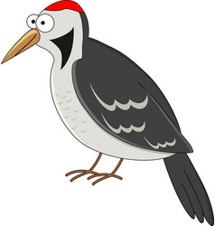 cute cartoon woodpecker vector image