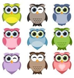 Cute owls set vector