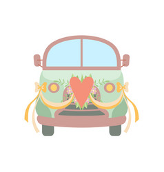 Cute vintage car decorated with heart flowers and vector