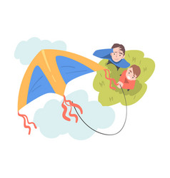 Dad and son playing kite outdoors top view of vector