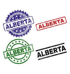 Damaged textured alberta stamp seals vector