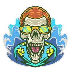 day skull head mascot logo vector image