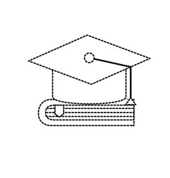 Dotted shape cap graduation over close book vector