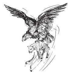 Eagle with prey vintage vector