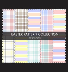 Easter plaid and stripe pattern collection vector