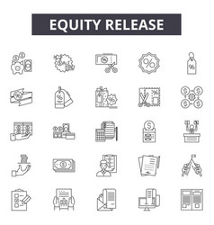 Eququity release line icons signs set vector