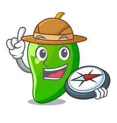 Explorer green mango in cartoon shape vector