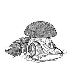 fairytale mushroom snail and bird feather vector image