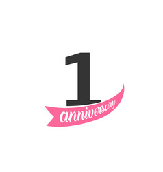 first anniversary logo number 1 vector image