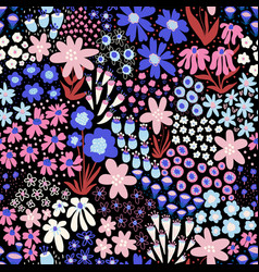 flower field blue pink white colors on black vector image