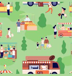 food market pattern people buy farm goods vector image