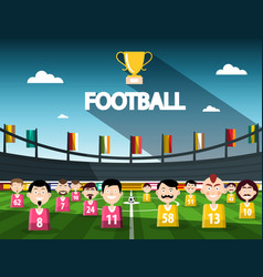 Football competition symbol with cup and team on vector