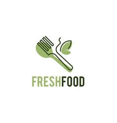 fresh food logo template organic food logo vector image