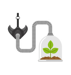 Gas mask and plant in glass bell glass jar and vector