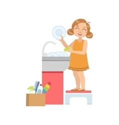 Girl washing the dishes in tap vector