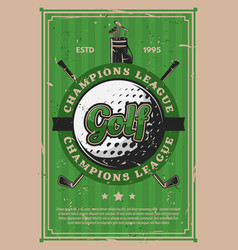 golf sport course field ball and sticks vector image