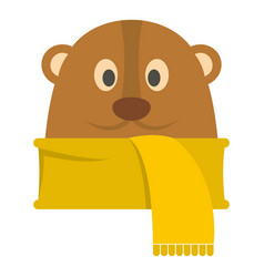 groundhog in scarf icon flat style vector image