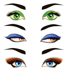 Hand drawn colored woman eyes vector