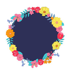 hand drawn flower natural frame background vector image