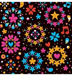 Hearts stars cartoon seamless pattern vector