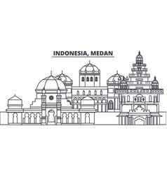 Indonesia medan line skyline vector