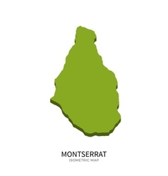 Isometric map of Montserrat detailed vector