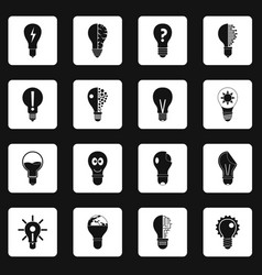 lamp logo icons set squares vector image