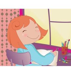 little schoolgirl vector image