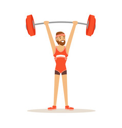 Male athlete character holding barbell on the vector