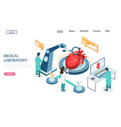 medical laboratory website landing page vector image