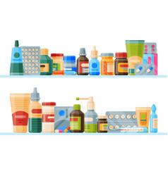 Medication on shelf banner vector