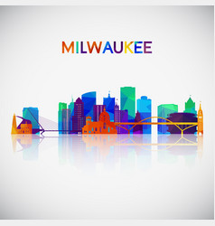 milwaukee skyline silhouette vector image