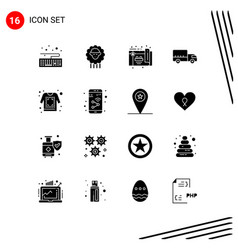 Mobile interface solid glyph set 16 pictograms vector