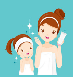 Mother and daughter happy with clean faces vector