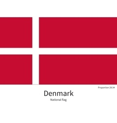 National flag of Denmark with correct proportions vector image