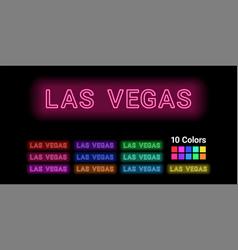 Neon name las vegas city vector