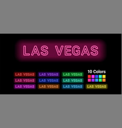 Neon name of las vegas city vector