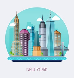 new york city skyline and landscape buildings vector image