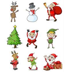 Nine christmas designs vector