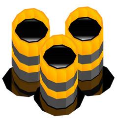 Oil barrels with oil spill render vector
