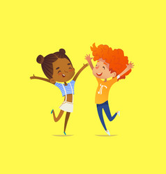 pair of multiracial kids boy and girl happily vector image