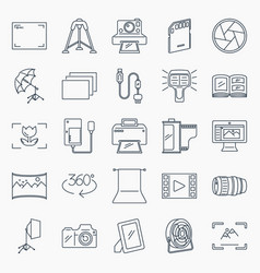 Photography icons set collection of photography vector
