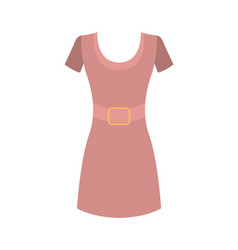 Pink dress with round collar short sleeves vector